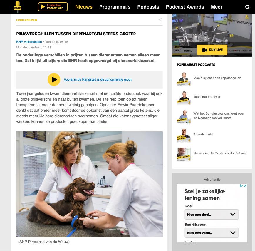 Foto Prijsverschillen tussen dierenartsen steeds groter